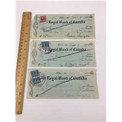 LOT OF 3-ROYAL BANK OF CANADA CHEQUES (1920'S)