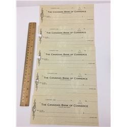 LOT OF 5 -UNUSED CANADIAN BANK OF COMMERCE CHEQUES (1940'S?50'S?)
