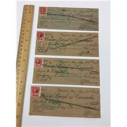 LOT OF UNION BANK OF CANADA CHEQUES WITH 2 CENTS STAMPS  (1918)