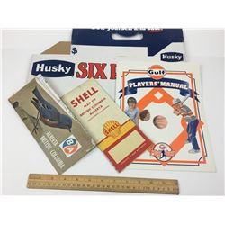 VARIOUS GAS AND OIL RELATED VINTAGE HUSKY CARDBOARD MAPS ETC