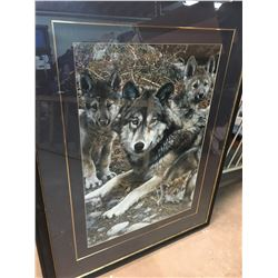 LARGE FRAMED WOLF AND CUBS PRINT