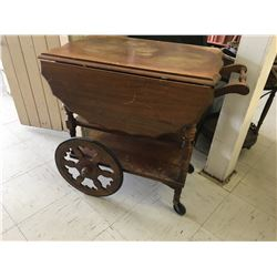 WOODEN TEA SERVICE CART (VINTAGE)