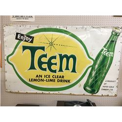 "TEEM SODA POP ADVERTISING SIGN (VINTAGE) *59.5"" x 35.5""*"
