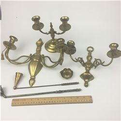 LOT OF BRASS CANDLE HOLDERS AND SNUFFERS