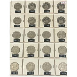 PAGE LOT OF 20-CANADA 50 CENT PIECES (1969)