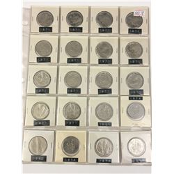 PAGE LOT OF 20 50 CENT PIECES (VARIOUS YEARS 1970-80) *CANADA*