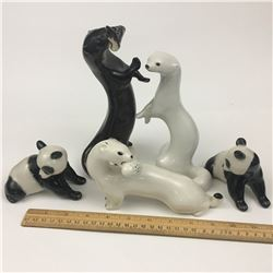 VINTAGE LOT OF USSR MADE FIGURINES (OTTERS AND PANDAS)