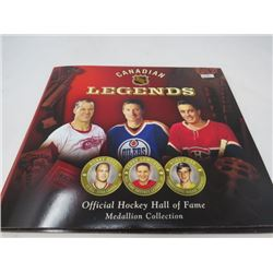 LOT OF NHL MEDALLIONS AND BOOK (CANADIAN LEGENDS)