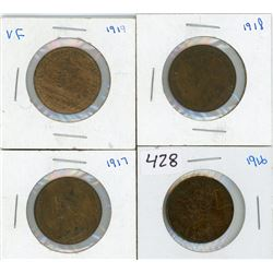 LOT OF 4 ONE CENT COINS (CANADIAN) *1916, 1917, 1918 & 1919* (LARGE)