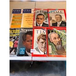 LOT OF 8 MAGAZINES (TIME, NEWSWEEK, ETC…) *64-65*