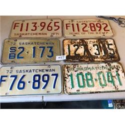 LOT OF 6 ASSORTED LICENCE PLATES (55-64-71-72-73) *SASKATCHEWAN*