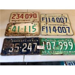 LOT OF 6 ASSORTED LICENCE PLATES (62-65-68-71-71) *SASKATCHEWAN*