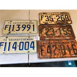LOT OF 5 ASSORTED LICENCE PLATES (50-56-57-72) *SASKATCHEWAN*