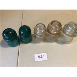 LOT OF 5 GLASS INSULATORS