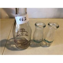 LOT OF 3 MILK BOTTLES (COOPERATIVE CREAMERY & 2 PT-UNIVERSITY)