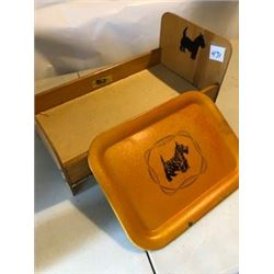 2 PIECE SCOTTY DOG DOLL BED AND METAL TRAY