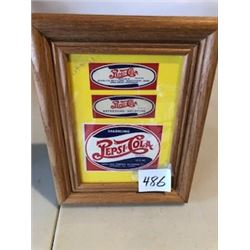 FRAMED PEPSI DOUBLE DOT BOTTLE NECK LABELS
