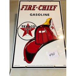 "**REPRODUCTION**SIGN (FIRE CHIEF GASOLINE) *18"" X 20""* (PORCELAIN)"
