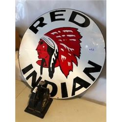 "**REPRODUCTION**SIGN (RED INDIAN GASOLINE) *30""* (PORCELAIN)"
