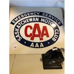 "DOUBLE SIDED SIGN (CAA MOTOR CLUB) *METAL* (24"" X 21"")"