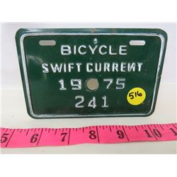 1975 BICYCLE PLATE (SWIFT CURRENT)
