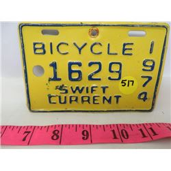 1974 BICYCLE PLATE (SWIFT CURRENT)
