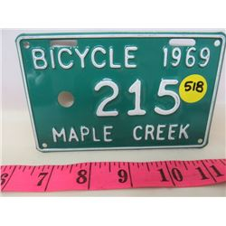 1969 BICYCLE PLATE (MAPLE CREEK)