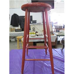 """WOODEN STOOL (RED) *30""""X 12""""*"""