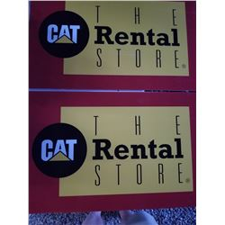 """LOT OF 2 """"CAT RENTAL"""" SIGNS (NOS) *MADE OF COROPLAST* (18"""" X 28"""")"""