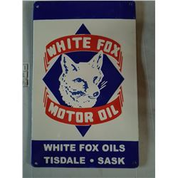 WHITE FOX MOTOR OIL SIGN (PORCELAIN) *LIMITED EDITION* (FANTASY SIGN OF ONE OF CANADA'S RAREST OIL C