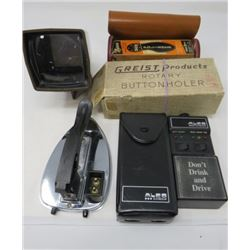 LOT OF MISC ITEMS (ALCO CHECK, TRAVEL IRON, ROTARY BUTTON HOLER, ETC)