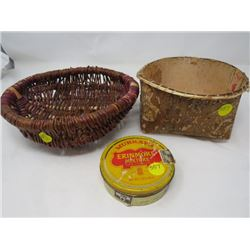 WOOD BASKET, WICKER BASKET AND TOBACCO TIN