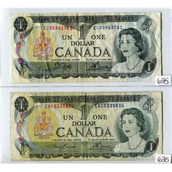 LOT OF 2 DOLLAR BILLS (CANADA) *LAWSON/BOUEY & CROW/BOUEY* (1973)