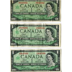 LOT OF 7 DOLLAR BILLS (CANADA) * 7 DIFFERENT PREFIXES; F/P, G/P, H/P, I/P, J/P, K/P, L/P* (1967)