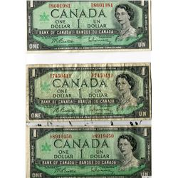 LOT OF 7 DOLLAR BILLS (CANADA) *7 DIFFERENT PREFIXES; L/O, M/O, N/O, O/O, P/O, R/O, S/O* (1967)