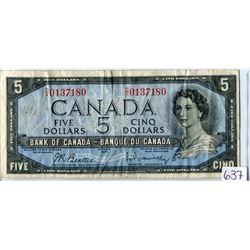 FIVE DOLLAR BILL (CANADA) *1954*