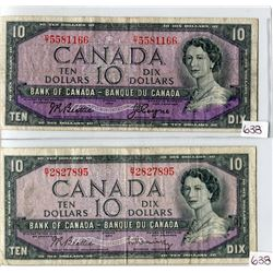 LOT OF 2 TEN DOLLAR BILLS (CANADA) * BILL BEATTIE/COYNE* (BILL BEATTIE/RASMINSKY) *1954*