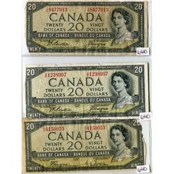 LOT OF 3 TWENTY DOLLAR BILLS (CANADA) *DEVILS FACE* (1954)