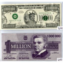 LOT OF 2 NOTES (CANADIAN MILLION DOLLAR BILL & US MILLION DOLLAR BILL) *2000 & 2001* (NOVELTY ITEMS)