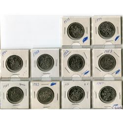 LOT OF 10-50 CENT PIECES (CANADA) (1978 TO 1987) *MISSING 1981* (2 X 1982)
