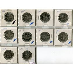 LOT OF 10-50 CENT PIECES (CANADA) *1968 TO 1977*