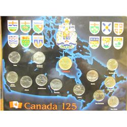 CANADA 125 PLACARD WITH COINS (1867 - 1992)