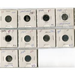 LOT OF 10-TEN CENT COINS (CANADA) *1980-1989)