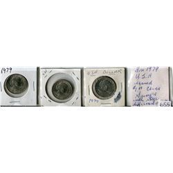 LOT OF 3 SUSAN B ANTHONY DOLLARS (USA) *1979* (3 DIFFERENT MINT MARKS)