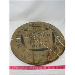 WOODEN BARREL LID (H.J. HEINZ COMPANY CANADA) *WHITE PICKLING AND HOUSEHOLD VINIGAR*  (APPROX 20 INC