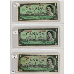 LOT OF 3 ONE DOLLAR BILLS (CANADIAN) *1967* (1 X REPLACEMENT NOTE)