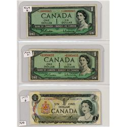 LOT OF 3 ONE DOLLAR BILLS (CANADIAN) *2 X 1984* (1973) *ALL REPLACEMENT NOTES*
