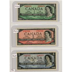 LOT OF 3 BANK NOTES (CANADIAN) *1954* ( ONE,TWO AND FIVE DOLLAR NOTES)