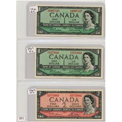 LOT OF 3 BANK NOTES (CANADIAN) *1954* (2 X ONE DOLLAR) *1 X TWO DOLLAR*