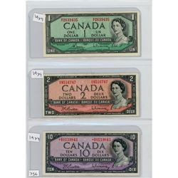 LOT OF 3 BANK NOTES (CANADIAN) *1954* (ONE, TWO & TEN DOLLAR)